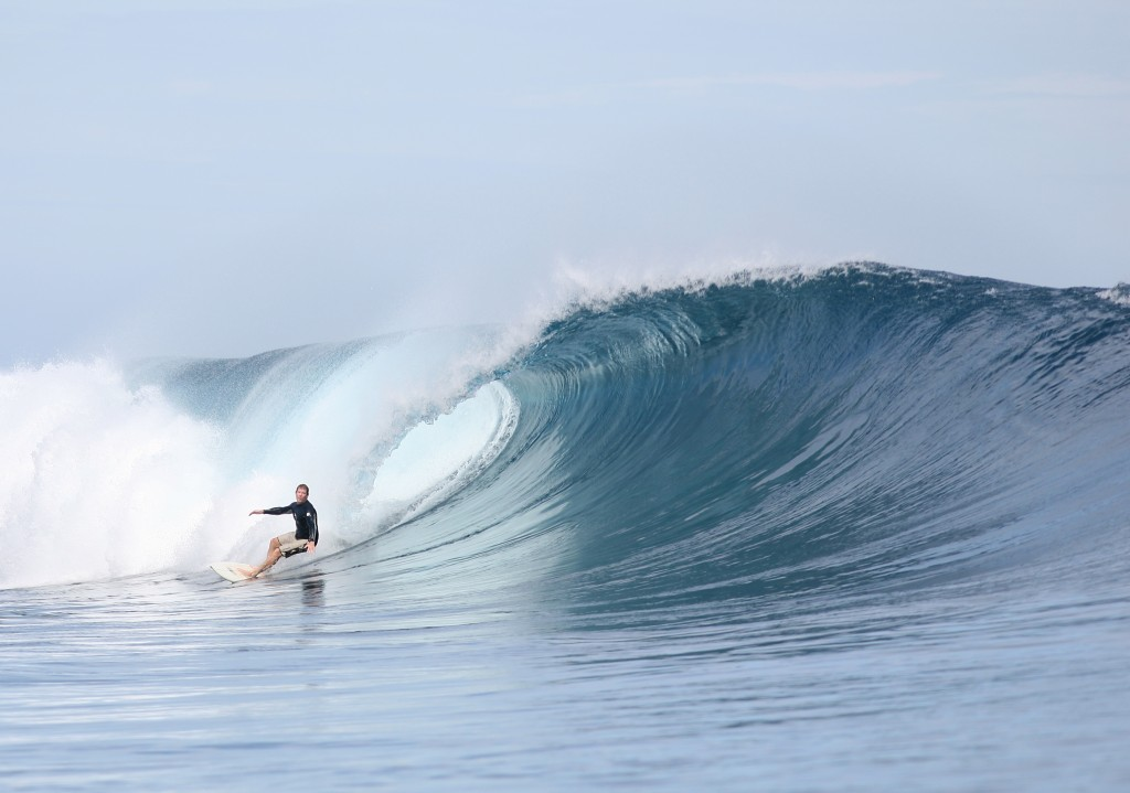 Our Cas Soma rips at Cloudbreak Tavarua Fiji  August 2009
